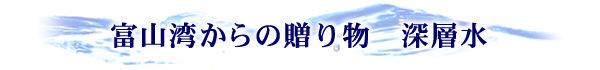 富山湾からの贈り物 深層水